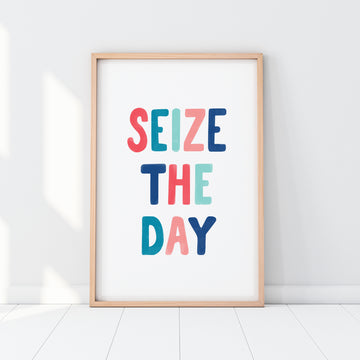 'Seize the Day' eco-friendly typography print