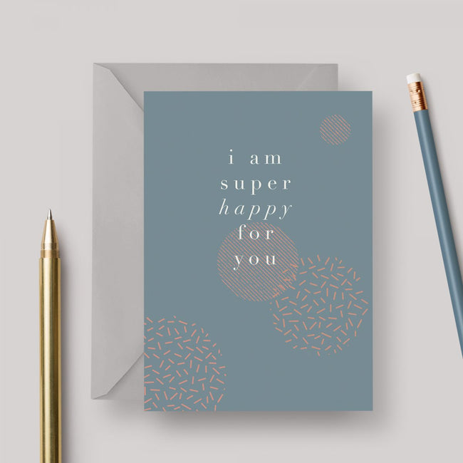 Super Happy A6 greeting card with grey envelope