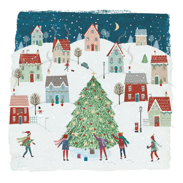 Tree town - pack of 10 Christmas cards with envelopes