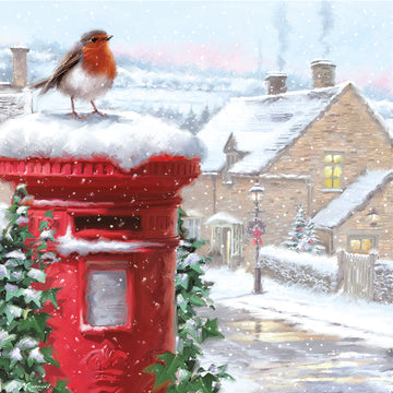 Robin on postbox - pack of 10 Christmas cards with envelopes