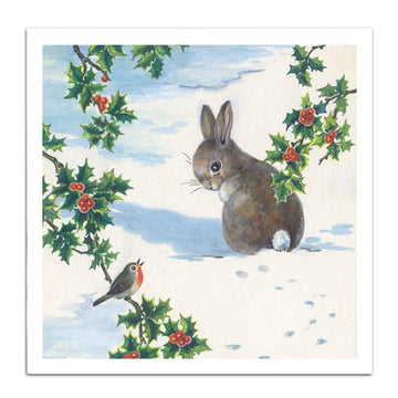 Vintage bunny - pack of 10 Christmas cards with envelopes