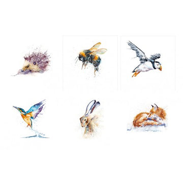 Wildlife in watercolour Set of 6 greeting cards