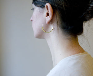 Silver Hoops With Brass Curve