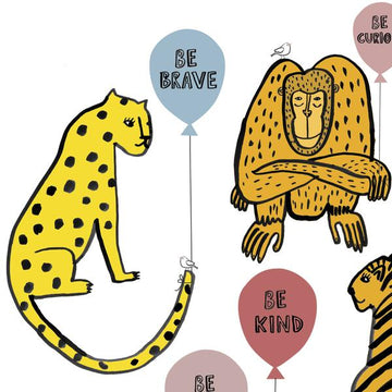 Be kind be brave animal balloon print