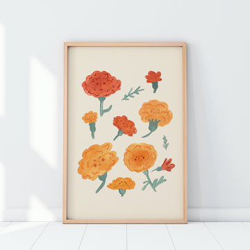 Marvellous Marigolds, illustrated giclee fine art print, A4 printed in the UK