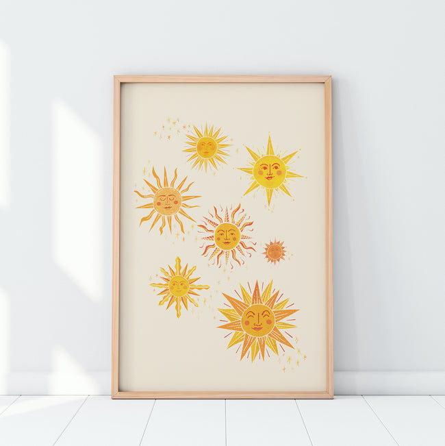 Sunshine Smiles, illustrated giclee fine art print, A4 wall art, printed in the UK