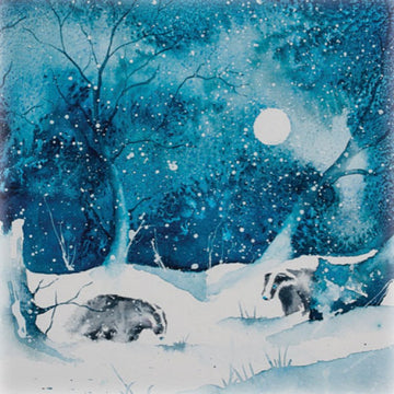 Badgers under moon Christmas Card