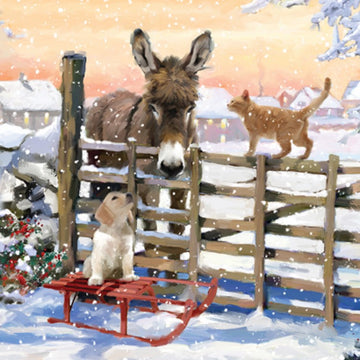 Donkey and friends Christmas Card
