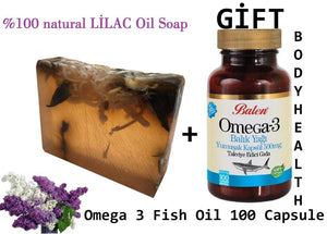 HANDMADE LILAC essential oil 100gr Soap+Gift Food Supplement Omega 3 Fish Oil Perfect for Health 100 Capsules