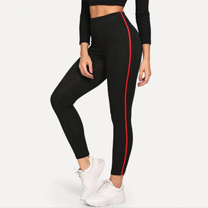 Fitness leggings Women Stitching red line Breathable High Waist Legins Female Workout Legging Push Up Elastic Slim Sport Pants
