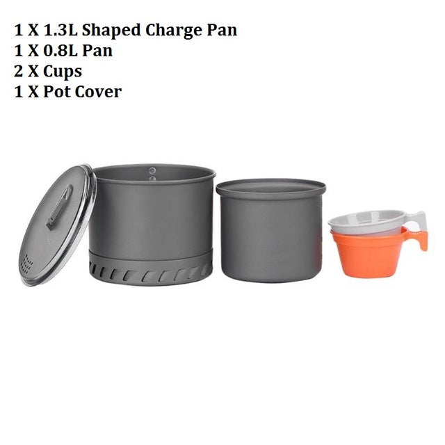 Outdoor Camping Cookware Set Portale Tableware Cooking Travel Cutlery Utensils Pot Pan Hiking Picnic Cooking Tool for 1-2 Person