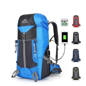 Waterproof 45L USB Charging Hiking Trekking Bags Outdoor Sports Climbing Backpacks Camping Hunting Tourist Rucksack