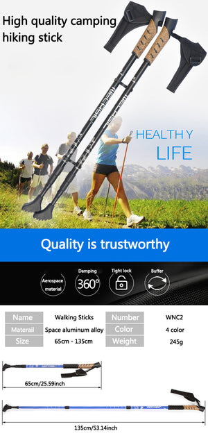 Nordic Ultralight Tri-fold Folding Walking Sticks Aluminum Alloy Trekking Poles Travel Hiking Skiing Anti Shock Walking Canes