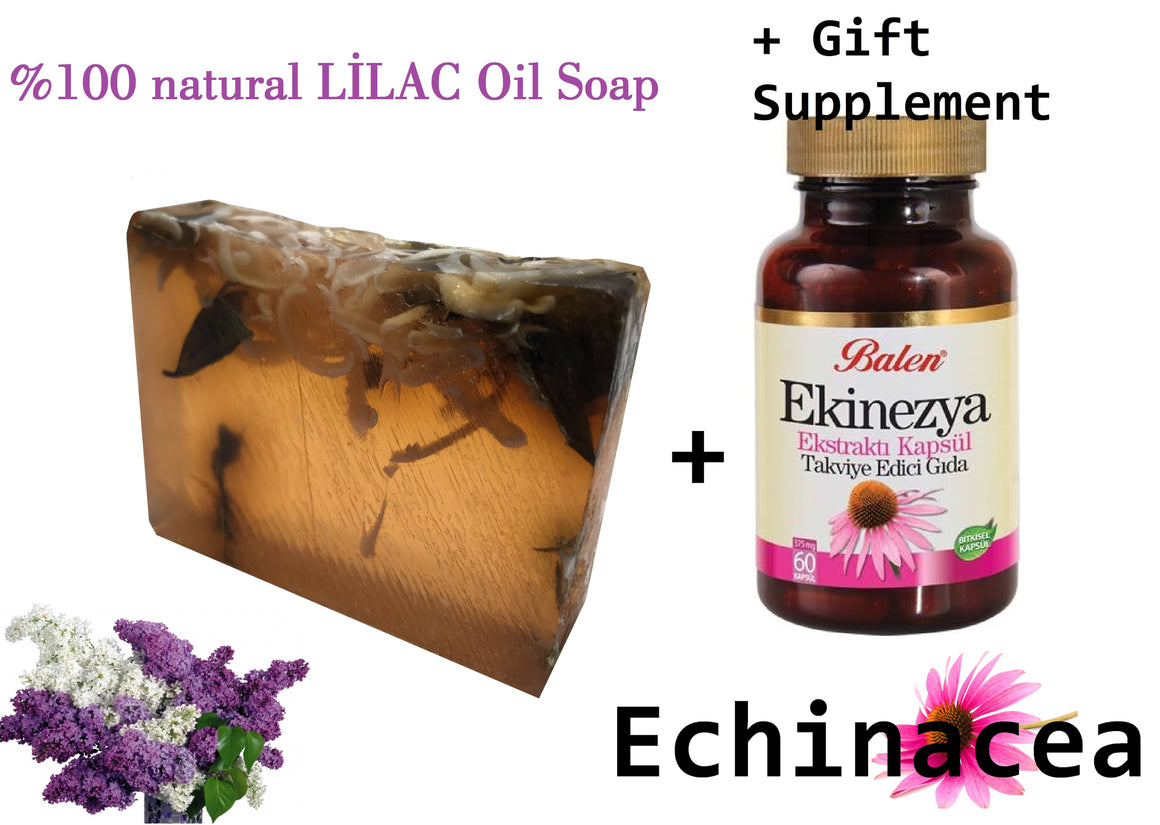 HANDMADE LILAC essential oil 100gram Soap+ Gift Food Supplement Echinacea Extract Body Health