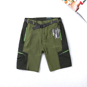Men's Outdoor Hiking Shorts Quick Drying Nylon Belt Mosaic Sports Climbing Camping Short Army Green