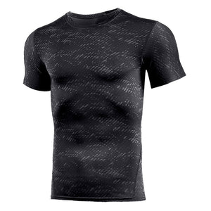 Gym Shirt Compression Athletic Dry Fit Men Workout Sport T Running Tracksuits Fitness Short Sleeves Football Racing Shirts Wear
