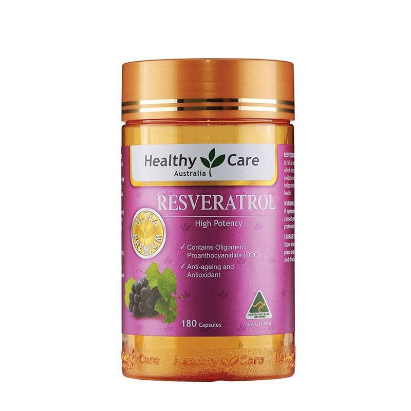 Australia Healthy Care Resveratrol Potent Antioxidant Grape Seed OPC Support Women Skin Cardiovascular Health Anti-ageing