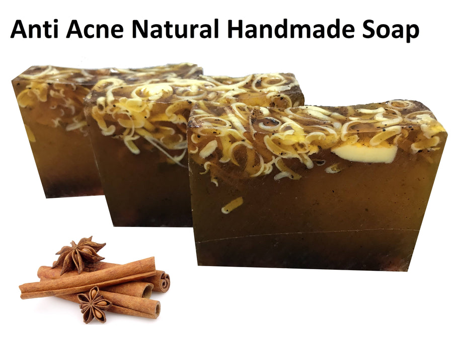 Anti Acne Cinnamon Natural Handmade Soaps 100 gr+Gift Food Supplement Herbal Health GINSENG Organic Extract 60 Capsul
