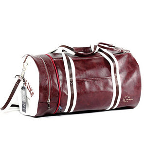PU Leather Sports Gym Bag Multifunction Training Fitness Shoulder Bags Traveling Handbag Striped Sac De Sport Women Men XA719WD