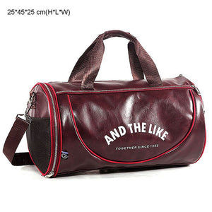 PU Leather Gym Bag Big Sports Bags Handbags For Fitness Men Women Training Shoulder Shoes Travel Sac De Sport Camping XA554WA