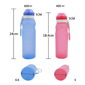 600ml Silicone Folding Water Bottle Outdoor Sports Supplies Portable Water Bottle Convenient Travel Anti-scalding Insulated