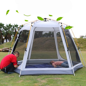 UV hexagonal aluminum pole automatic Outdoor camping wild big tent 3-4persons awning garden pergola 245*245*165CM