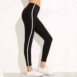 Black High Waist Women Leggings Fitness Patchwork Legging White Binding High Elastic Workout Leggins Female Push Up Trousers