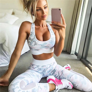 Camouflage Printing Fitness Gym Sportswear For Women Capri Clothing Yoga Set High Waist Elastic Yoga Suit Free Ship