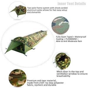 Ultralight One Person Backpacking Tent 1 Man 3 Season Waterproof Fast Easy Set Up Camping Bivvy for Outdoor Hiking