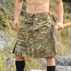 Men's Plaid Scottish Tactical Skirt Camouflage Anti-wear Outdoor Camping Hiking Combat Scotland Male Sports Camo Trekking Shorts