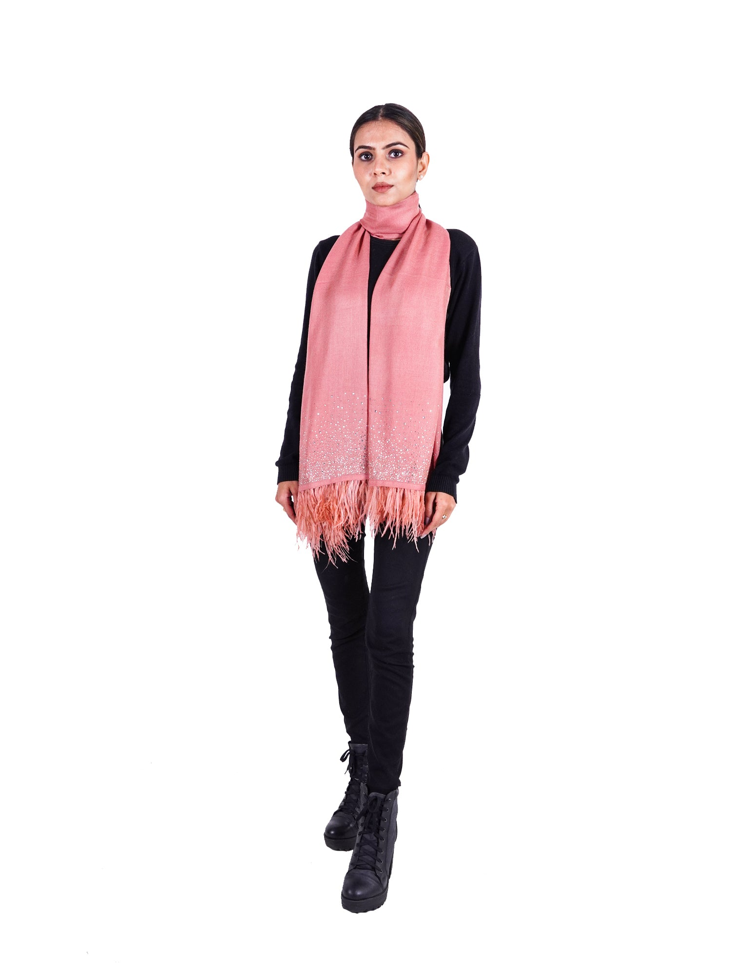Crystal & Feather Fine Wool Stole - Rose Pink
