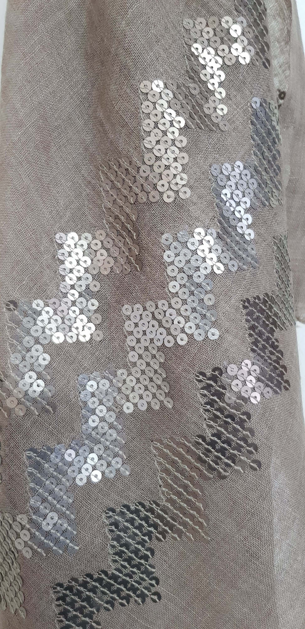 Sequins Fine Wool Stole - 11