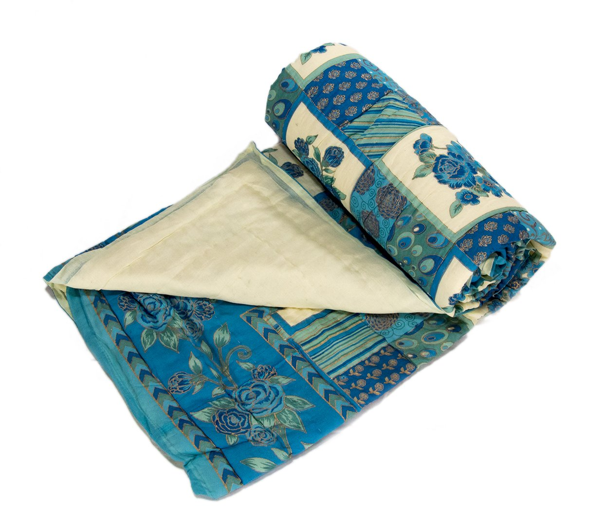 Blue Mughal Rose Cotton Duvet