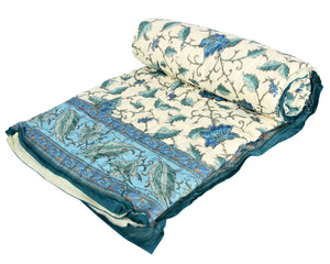 Blue Exotic Leaves Cotton Duvet