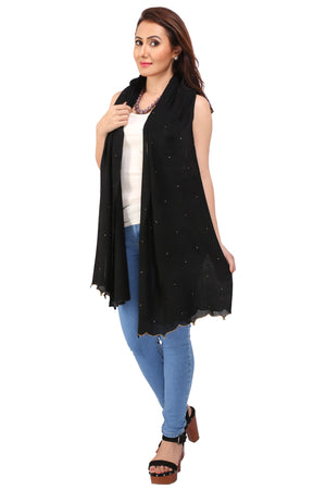 Crystal Fringes Fine Wool Stole