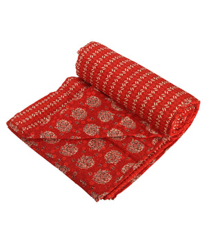 Red Tamarind Reversable Jaipuri Block Print Single Dohar (90 x 58 inches)