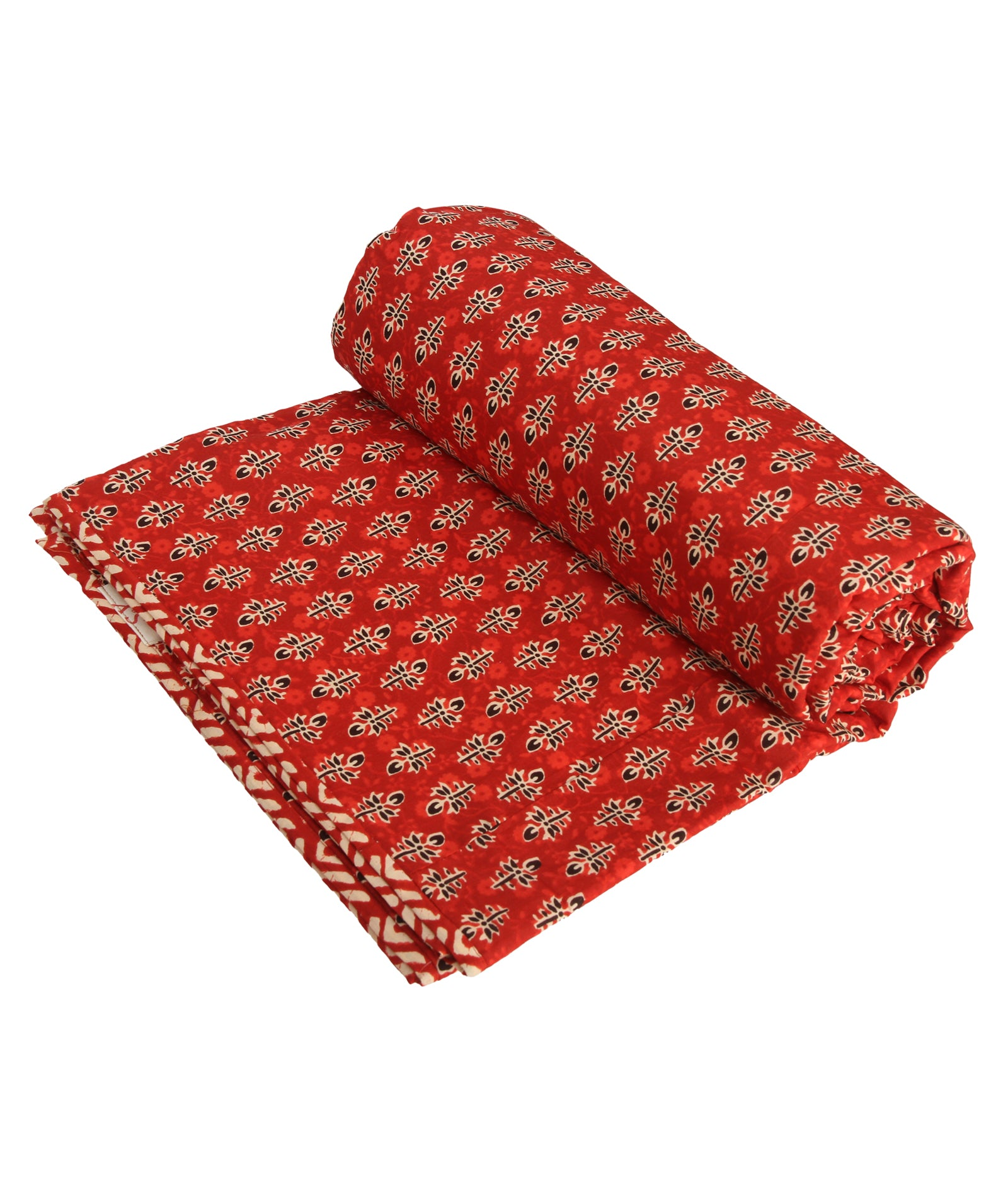 Red Bagru Reversible Jaipuri Block Print Single Dohar (90 x 58 inches)