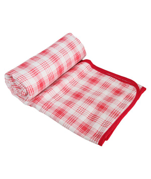 Pink Checks Cotton Single Dohar (88 x 58 inches)