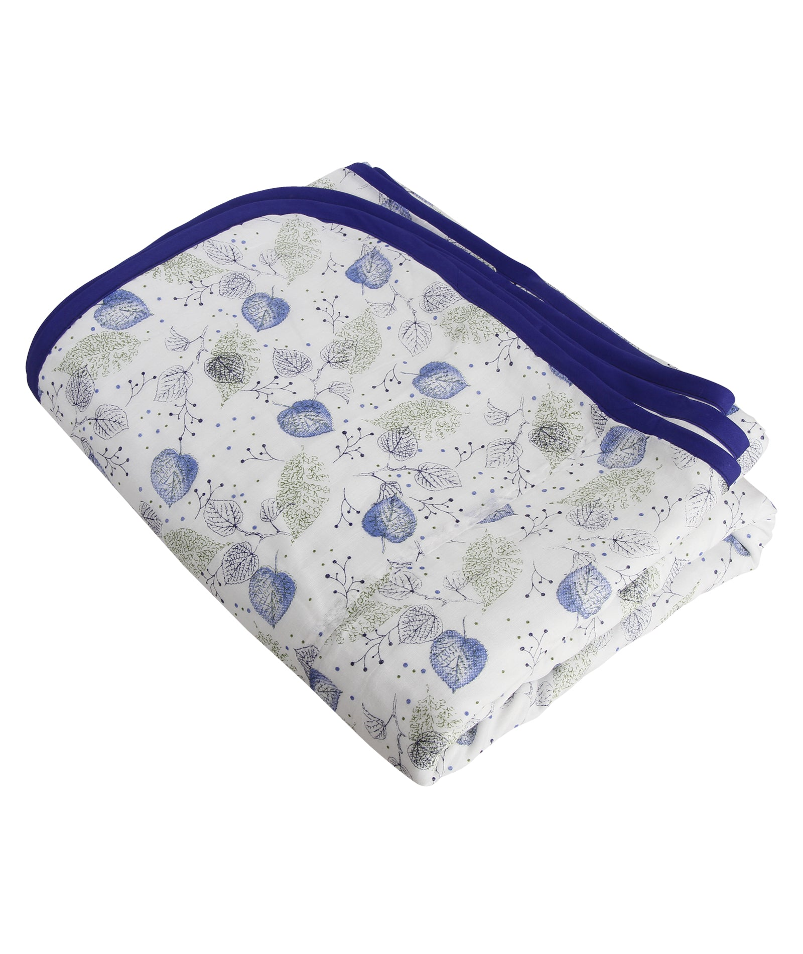 Blue Peepal Leaf Cotton Single Dohar (88 x 58 inches)
