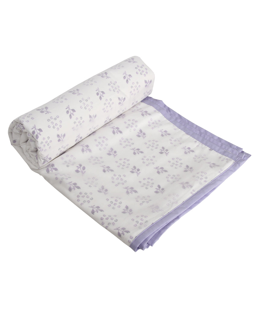 Purple Pastel Flower Cotton Single Dohar (88 x 58 inches)