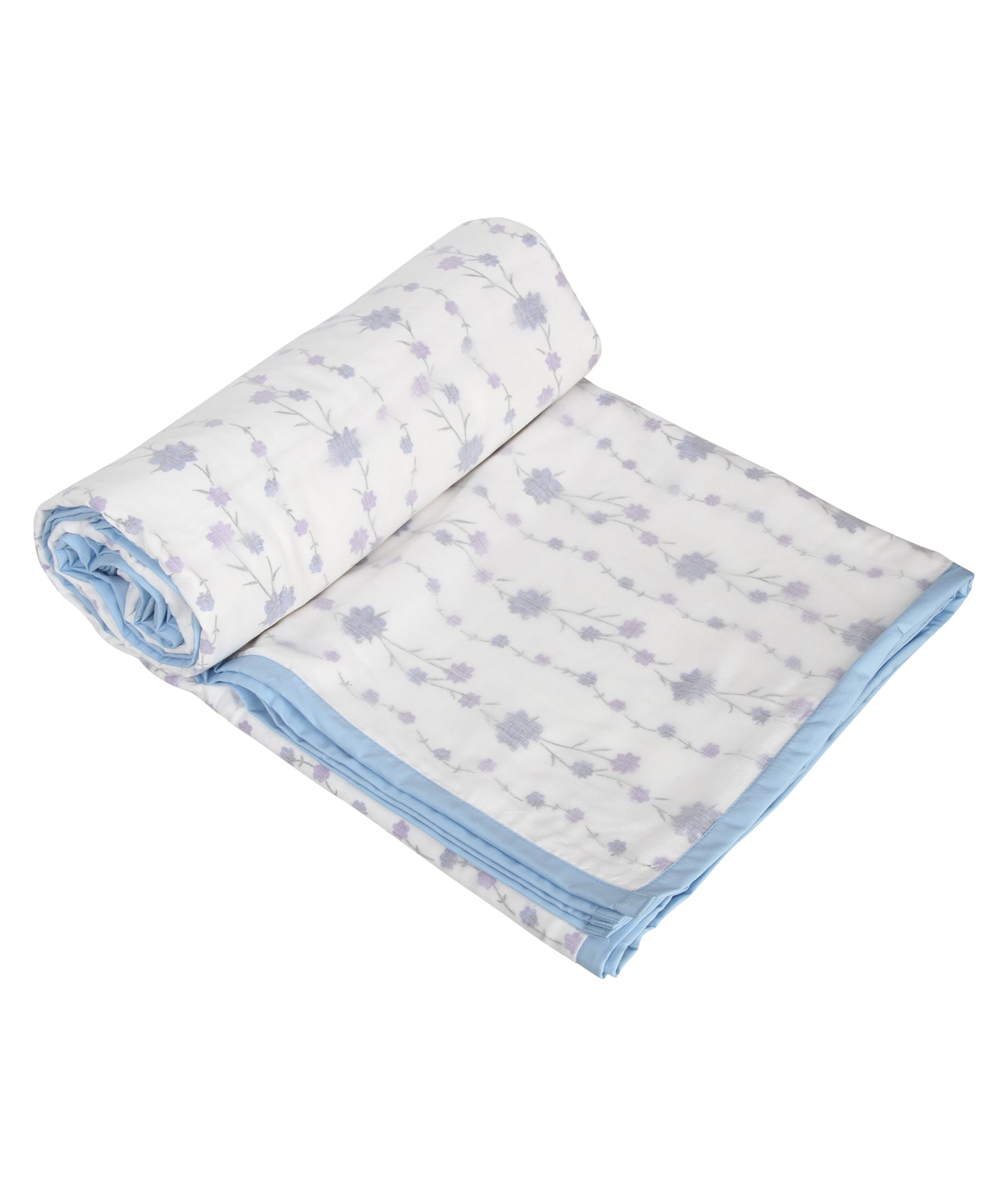 Blue Pastel Flower Cotton Single Dohar (88 x 58 inches)