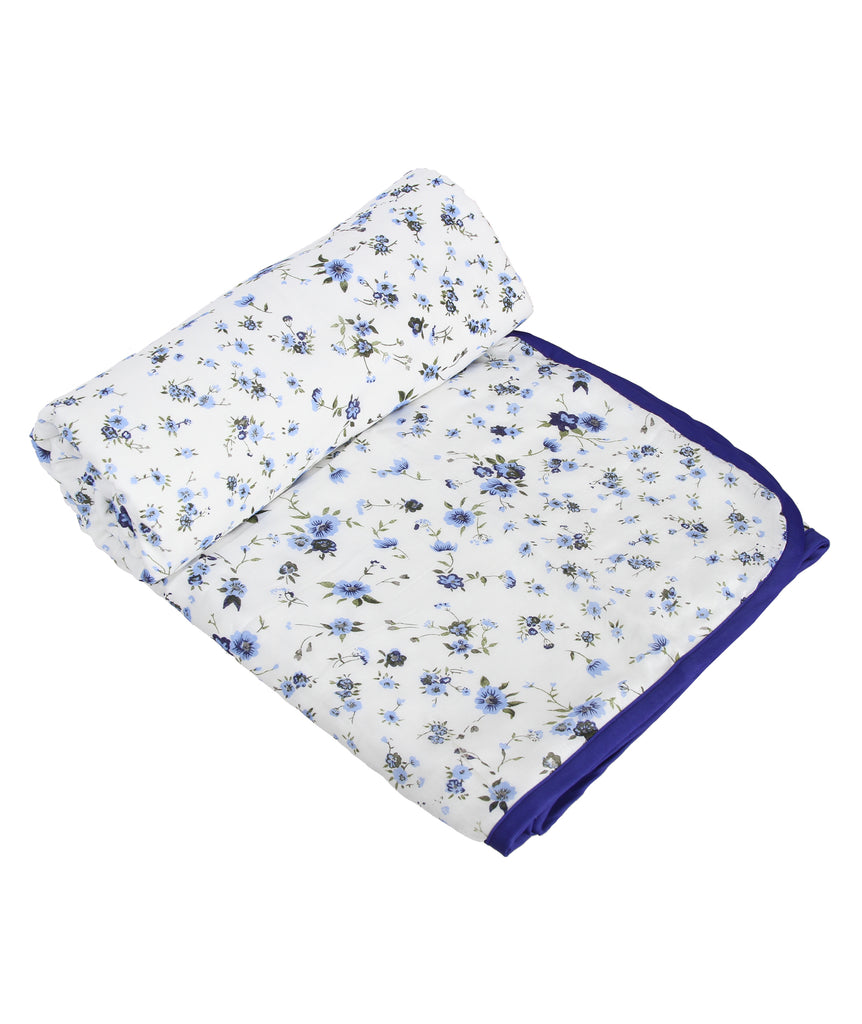 Blue Floral Cotton Single Dohar (88 x 58 inches)