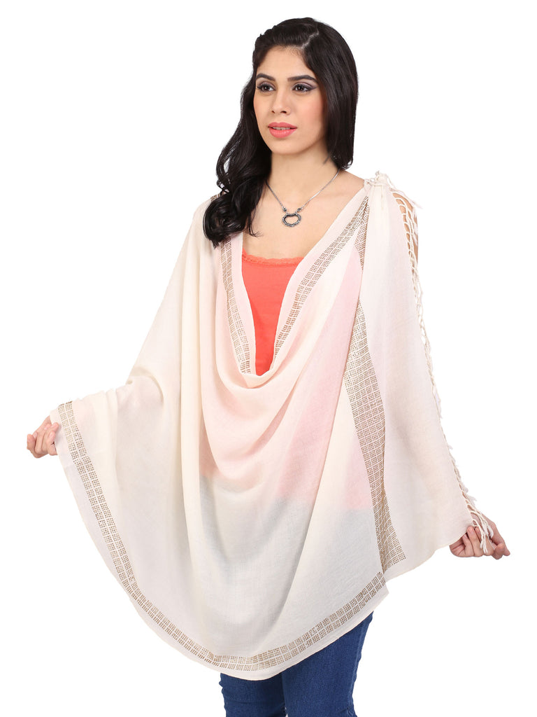 Square Line Crystal Pure Wool Stole