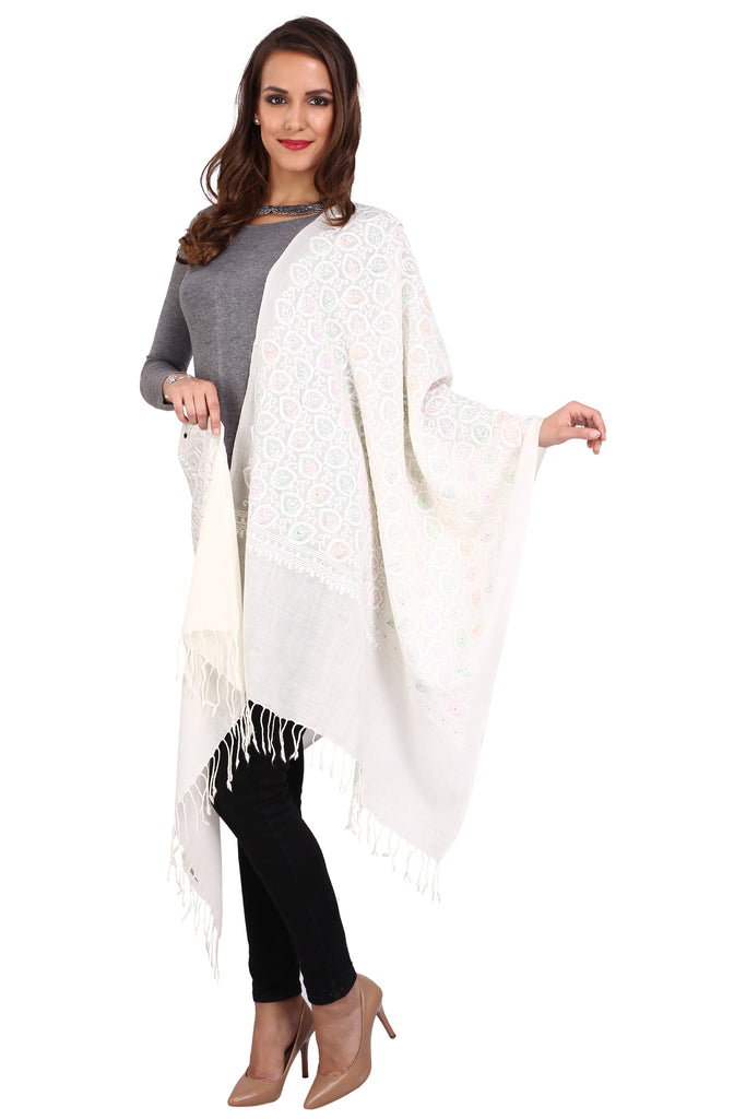 Leaves Aari Pure Wool Stole