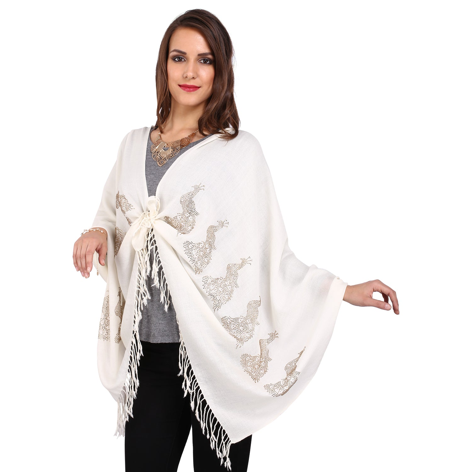 White & Gold Peacock Crystal Stole