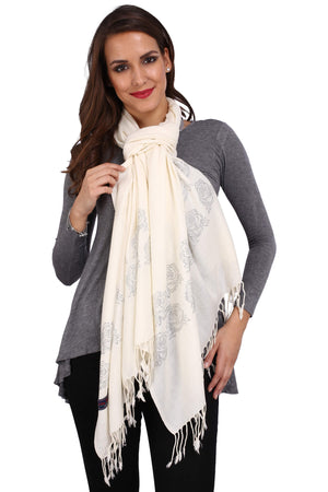 Silver Rose Crystal Fine Wool Stole