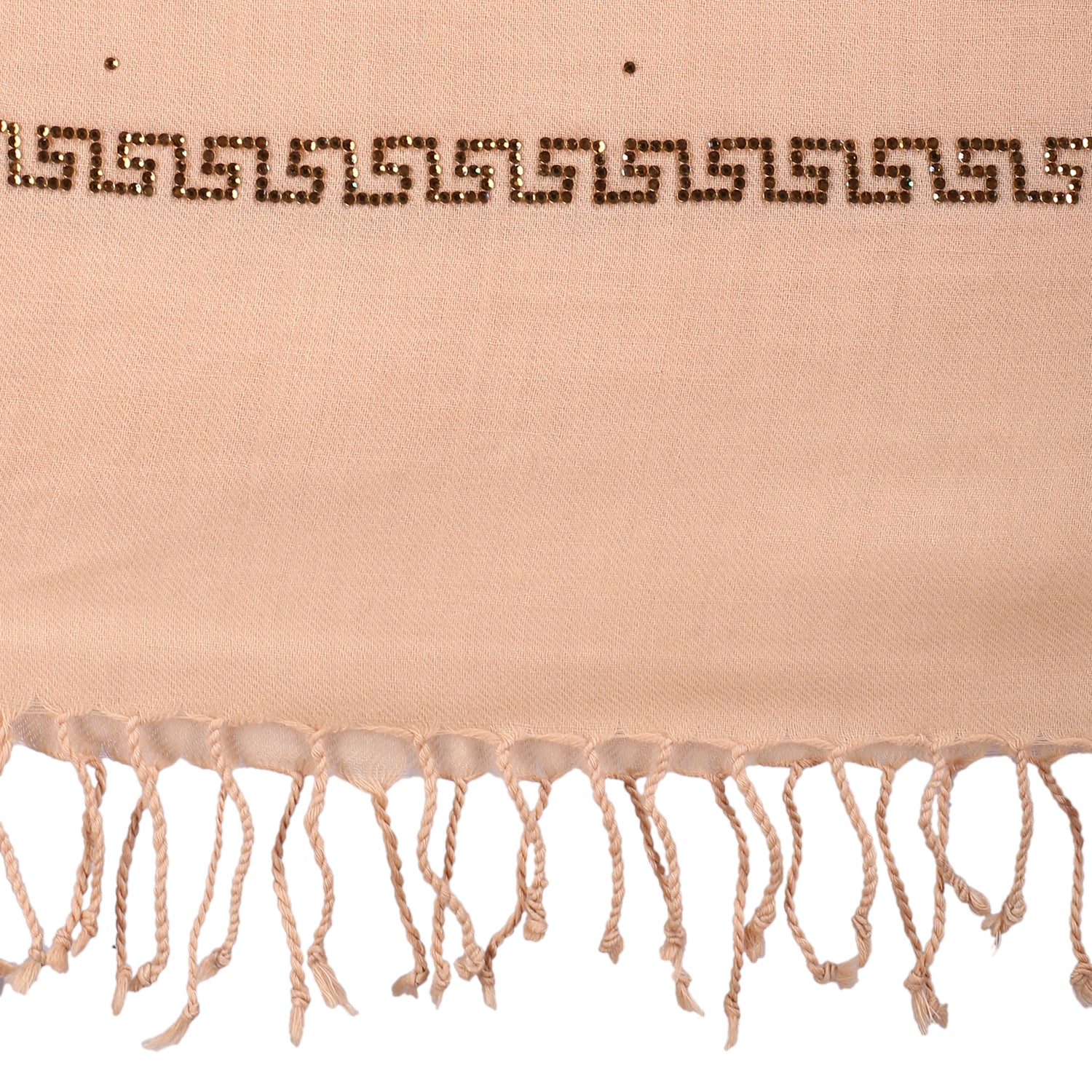 Peach Sand Gold Border Pure Wool Stole