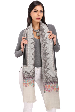 Grey Diamond Border Fine Wool Stole