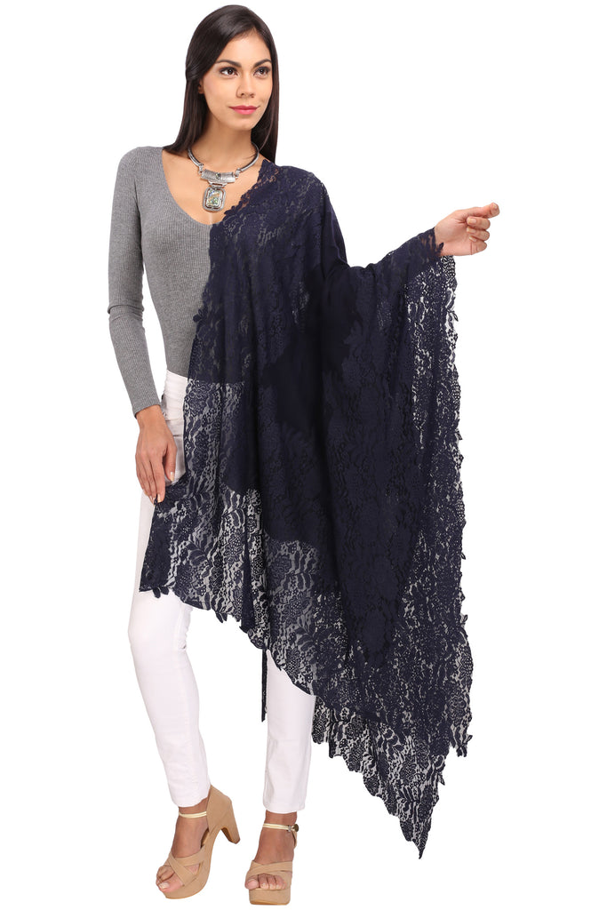 Navy Blue Lace Border Pure Wool Stole