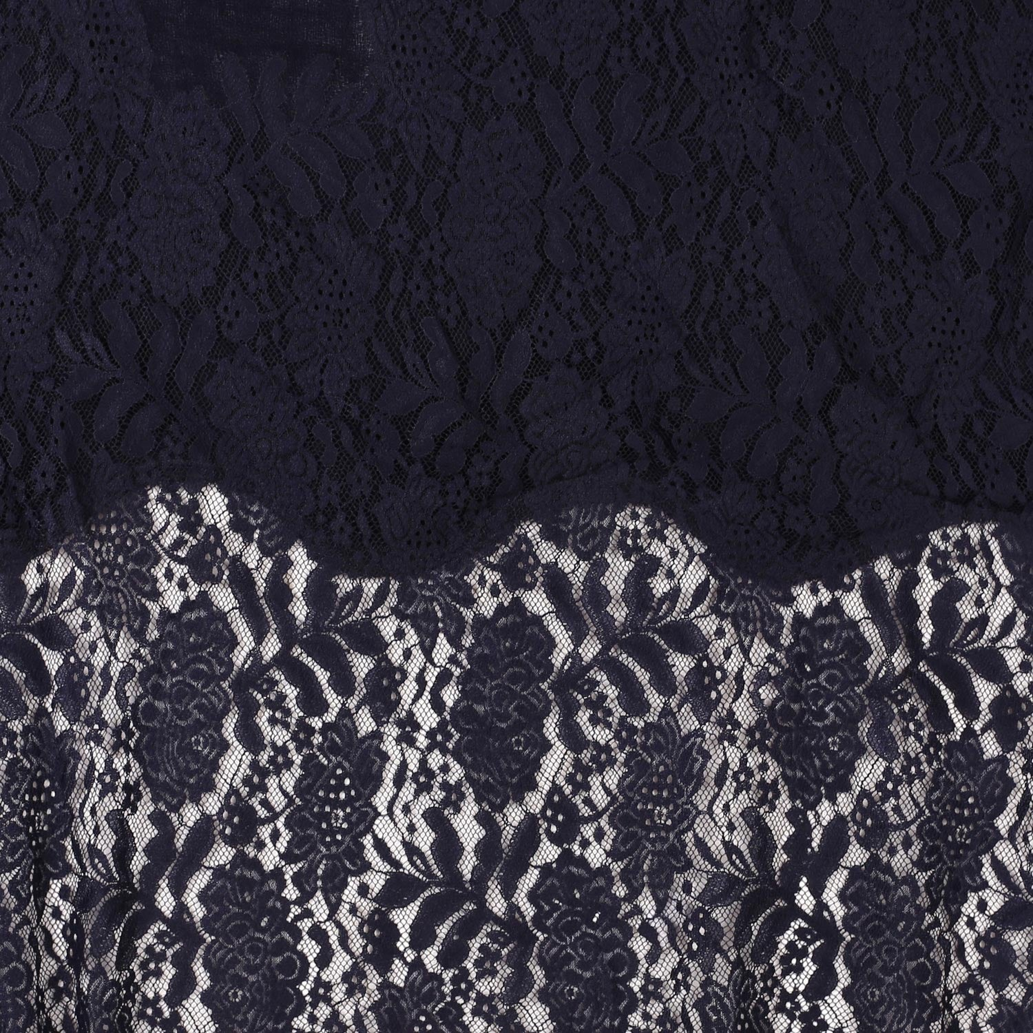 Navy Blue Lace Border Fine Wool Stole